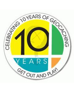 10 Years of Geocaching Sticker